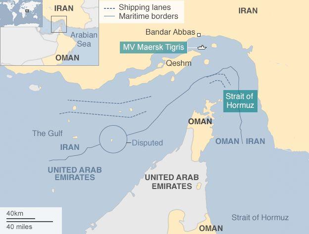 Map showing Strait of Hormuz and position of MV Maersk Tigris