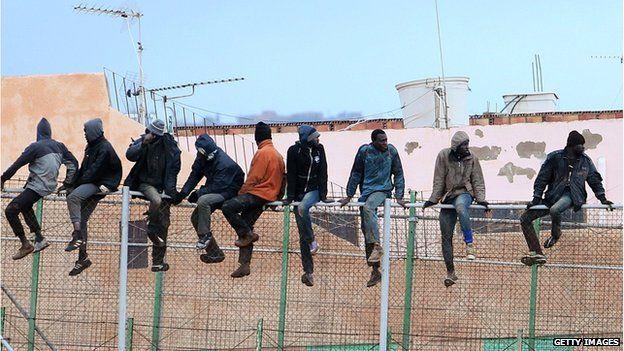 Migrants at the border between Morocco and Melilla