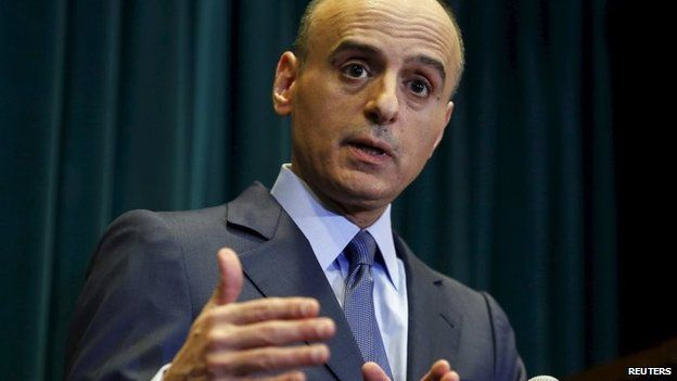 Adel al-Jubeir speaks to reporters in Washington (29 April 2015)