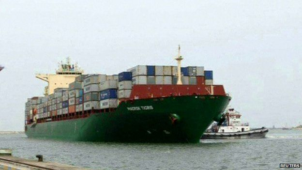 File photographs show the Maersk Tigris
