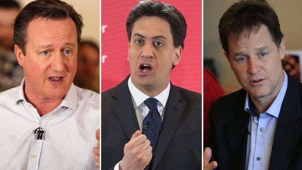 David Cameron, Ed Miliband and Nick Clegg