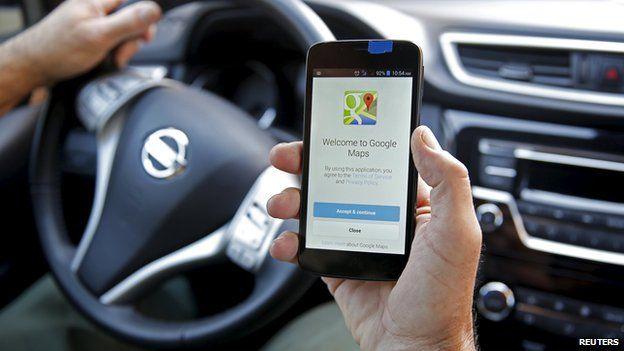 Man using Google map app in Sarajevo