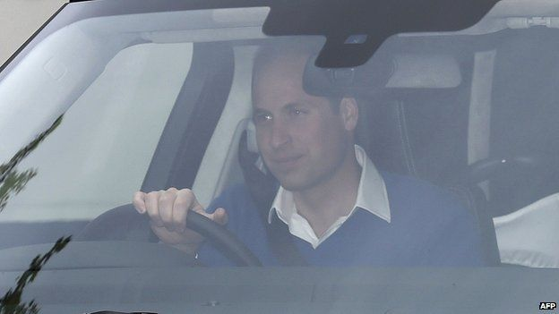 Duke of Cambridge drives away from Lindo Wing of St Mary's Hospital with his newly-born baby daughter
