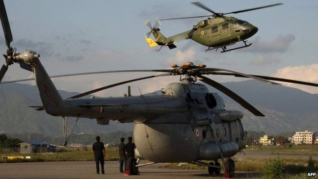 Helicopters at Kathmandu's Tribhuvan airport