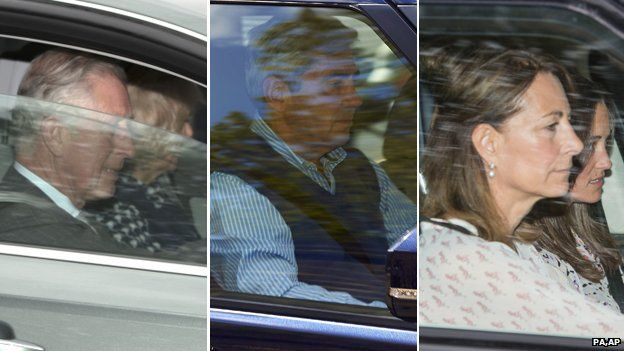 Prince of Wales and Duchess of Cornwall; Michael Middleton; Carole and Pippa Middleton