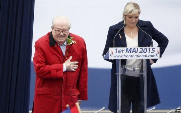 Jean-Marie Le Pen with daughter Marine (1 May 2015)
