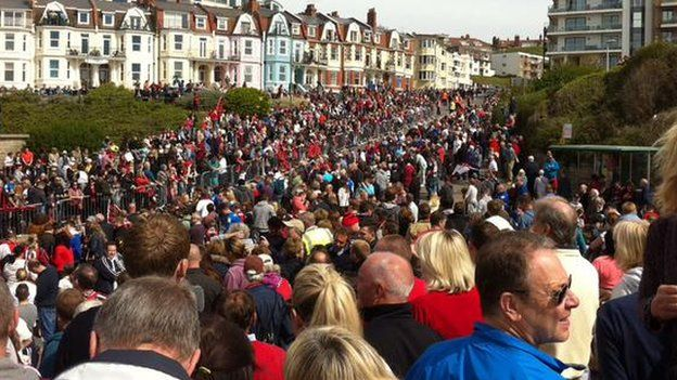 Boscombe seafront crowds before parade