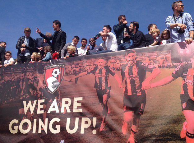 Bournemouth players on the open-top bus