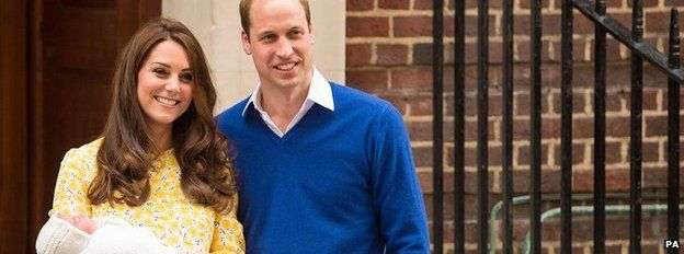 Duke and Duchess of Cambridge outside St Mary's Hospital in London with their new baby daughter on 2 May 2015