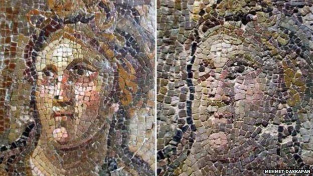 Before and after images of the mosaics