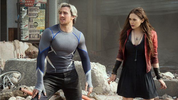 Quicksilver, played by Aaron Taylor-Johnson and Scarlet Witch, played by Elizabeth Olsen in Avengers: Age of Ultron