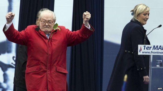 Jean-Marie Le Pen (left) and Marine Le Pen. Photo: 1 May 2015