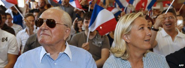 Jean-Marie Le Pen with his daughter at a youth congress on 7 Sept 2014