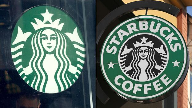 The latest Starbucks logo (left) and the old one