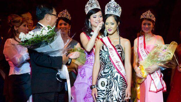 Amy Chanthaphavong winning Miss Asian America