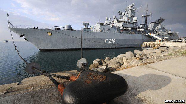German frigate is moored in Djibouti port