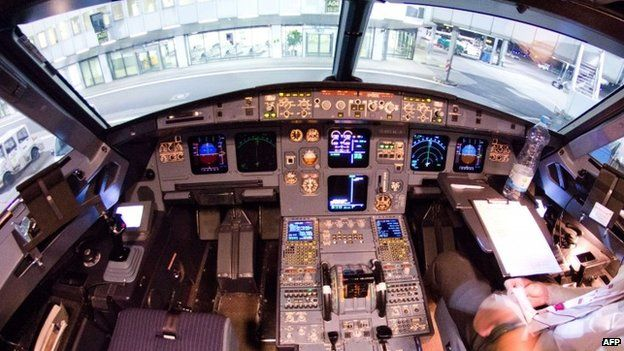 The cockpit of the Germanwings Airbus A320 plane (22 March 2015)