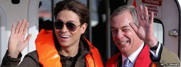 Joey Essex with Nigel Farage in Grimsby