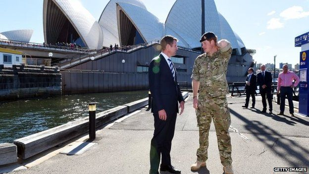 NSW Premier Mike Baird and Prince Harry in front of the Sydney Opera House