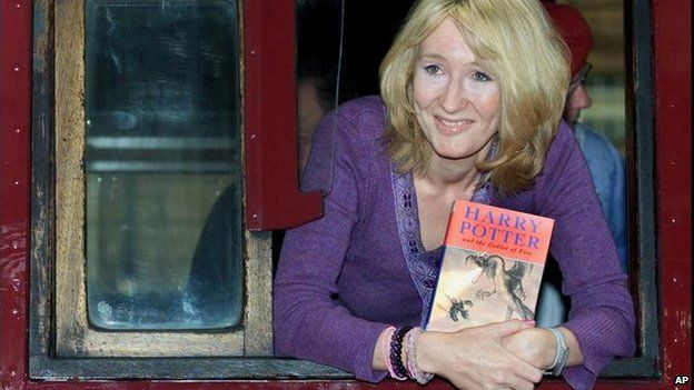 JK Rowling on Hogwart's Express train