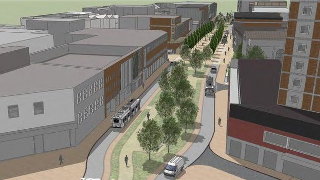 Artist impression of a redeveloped Kingsway in Swansea city centre