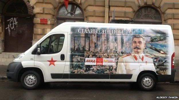 Bus with portrait of Stalin
