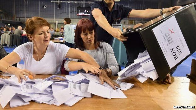 Ballot papers being counted at the Glasgow count