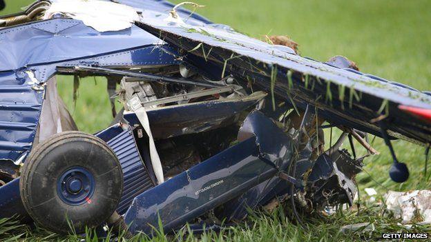 The wreckage of Nigel Farage's plane crash