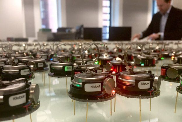 Swarm of miniature robots at the University of Sheffield