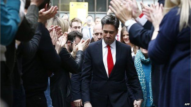 Ed Miliband returning to his party's London headquarters