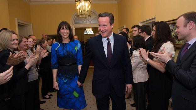 David and Samantha Cameron in Downing Street