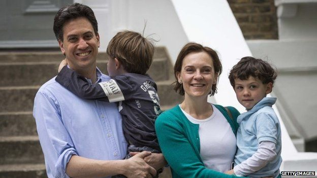 Ed and Justine Miliband with their sons Daniel and Samuel outside their London home
