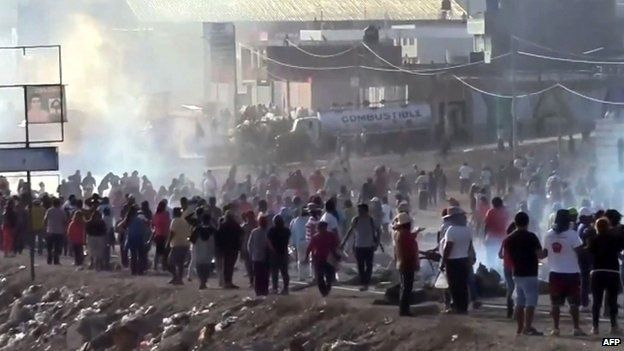 Protest in the city of Moquegua