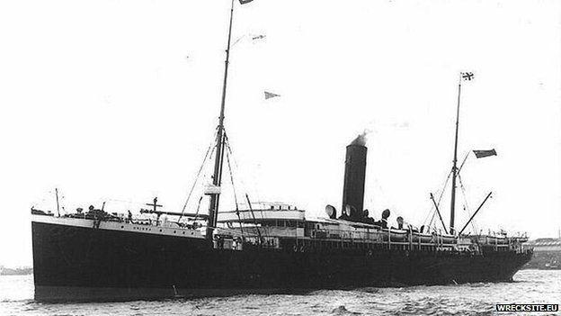 Yr RMS Orissa, y llong a gariodd 230 o ymfudwyr Patagonia yn ôl i Brydain
