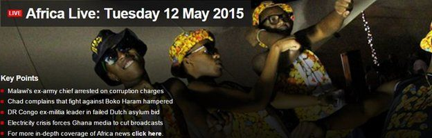 Screen grab of Africa Live page