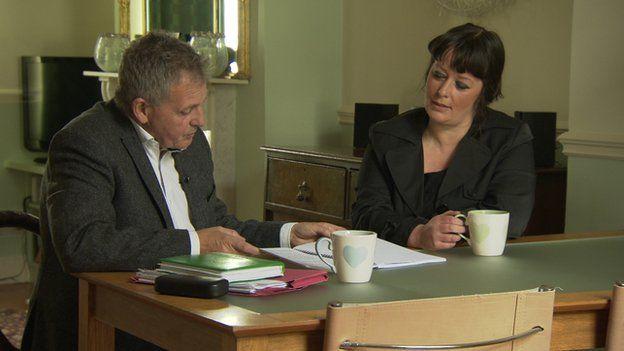 Kathryn Beckett with Spotlight journalist Chris Moore