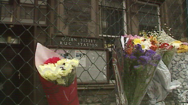 Flowers left at Queen Street RUC station following the constables' murders