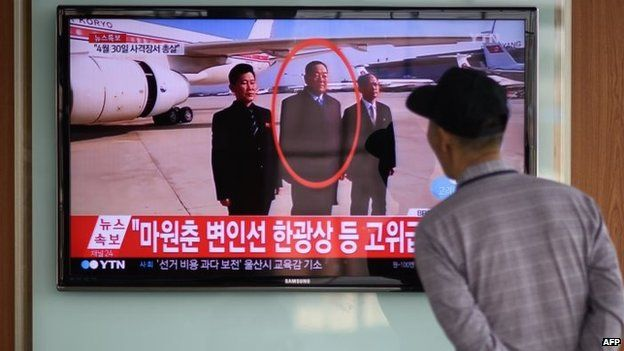 A man watches a television report about the execution in Seoul (13 May 2015)