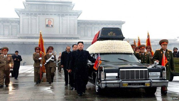 A photo released by the (North) Korean Central News Agency (KCNA) of Kim Jong-il's funeral on 29 December 2011