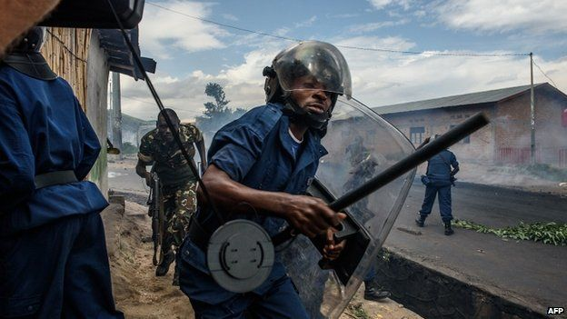 Police clash with anti-president protesters in Bujumbura, 13 May