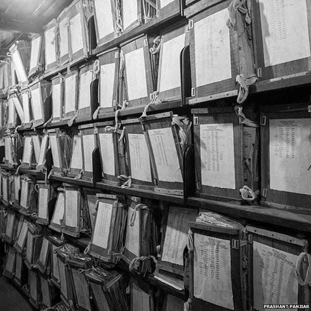 Boxes in the main records room of Patna High Court