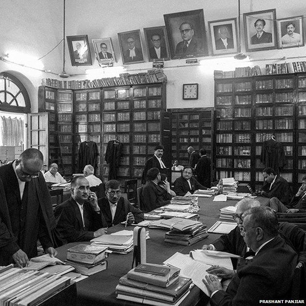 Lawyers in the library of Patna High Court