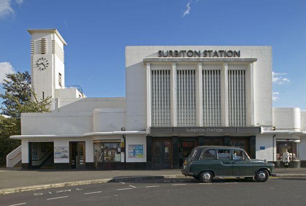 Black cab outside Surbiton station