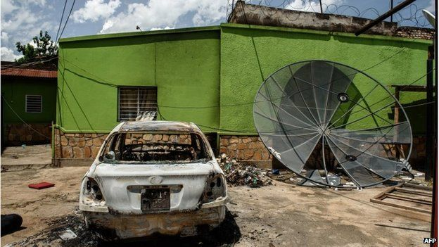 Offices of independent radio station African Public Radio in Bujumbura, 15 May 2015