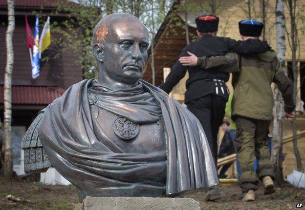 Bust of Vladimir Putin unveiled in the village of Kasimovo near St Petersburg, 16 May