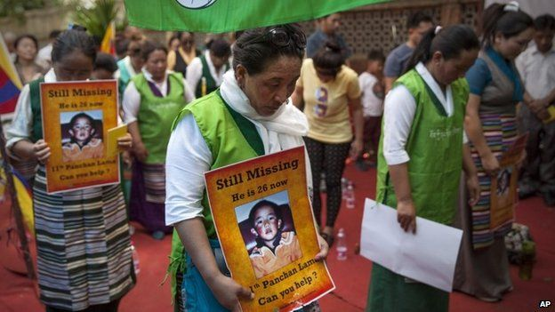 Members of the exiled Tibetan Women Association protest to demand the immediate release of Gedhun Choekyi Nyima, the 11th Panchen Lama, during a gathering to mark the 20th anniversary of his disappearance, in Delhi, India (17 May 2015)