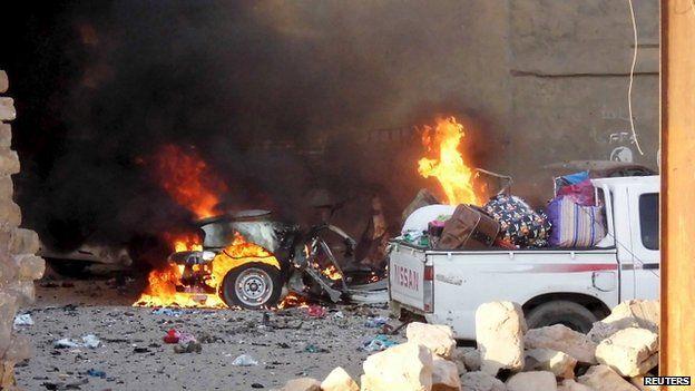 Remains of car in city of Ramadi. 16 May 2015