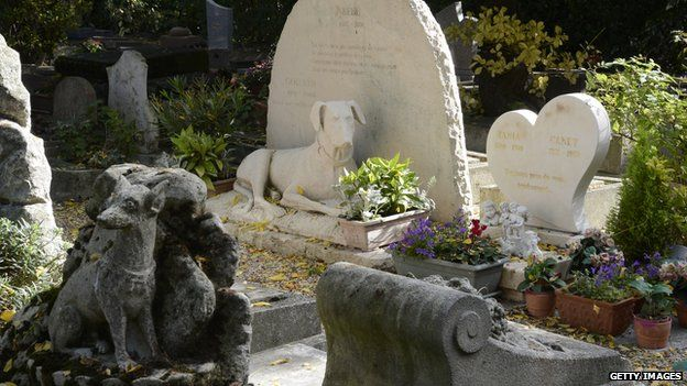 Dog graves at a pet cemetery in France