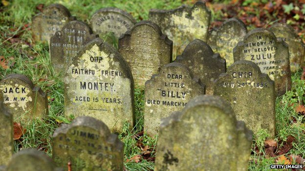 Graves at the old pet cemetery at Hyde Park