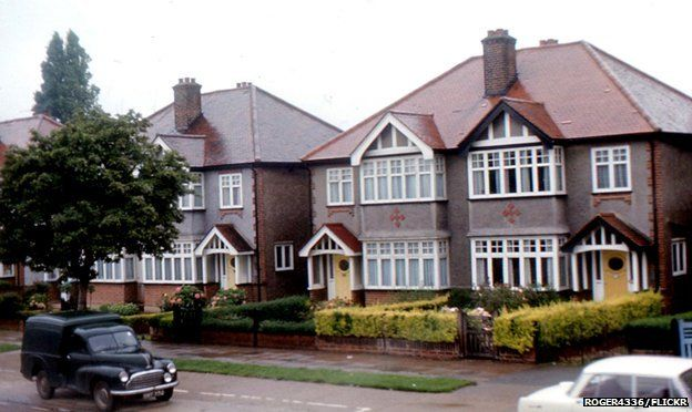 A semi-detached house with a front garden, 1968
